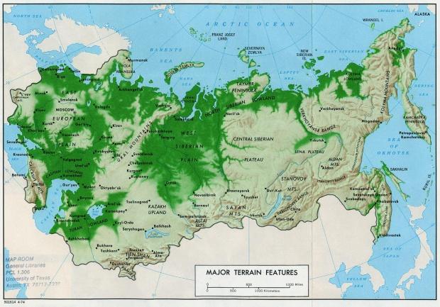 Mapa de las Principales Características del Relieve Terrestre en la ex Unión Soviética