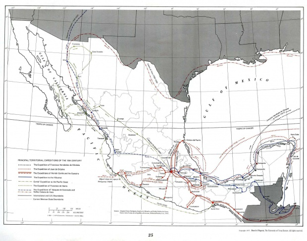 Map of Principal Territorial Expeditions of the 16th Century, Mexico