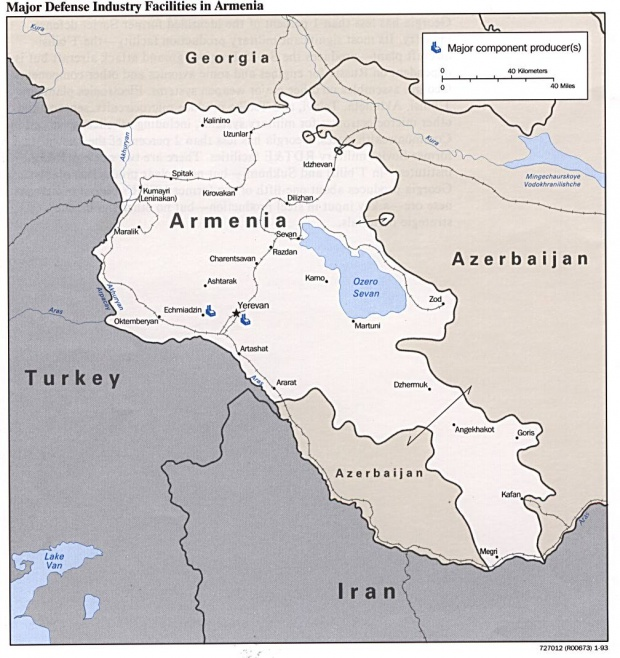 Armenia Major Defense Industry Facilities Map
