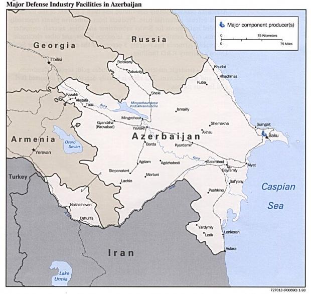 Mapa de las Principales Instalaciones de la Industria de Defensa de Azerbaiyán