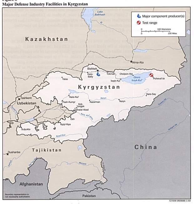 Kyrgyzstan Major Defense Industry Facilities Map