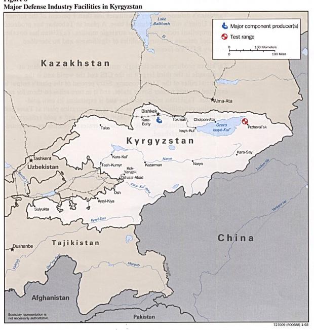 Mapa de las Principales Instalaciones de la Industria de Defensa de Kirguistán