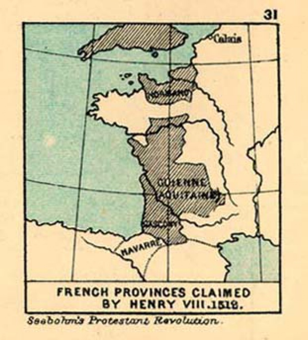Map of French Provinces claimed by Henry III., 1512