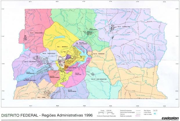 Mapa de las Regiones Administrativas del Distrito Federal, Brasilia, Brasil