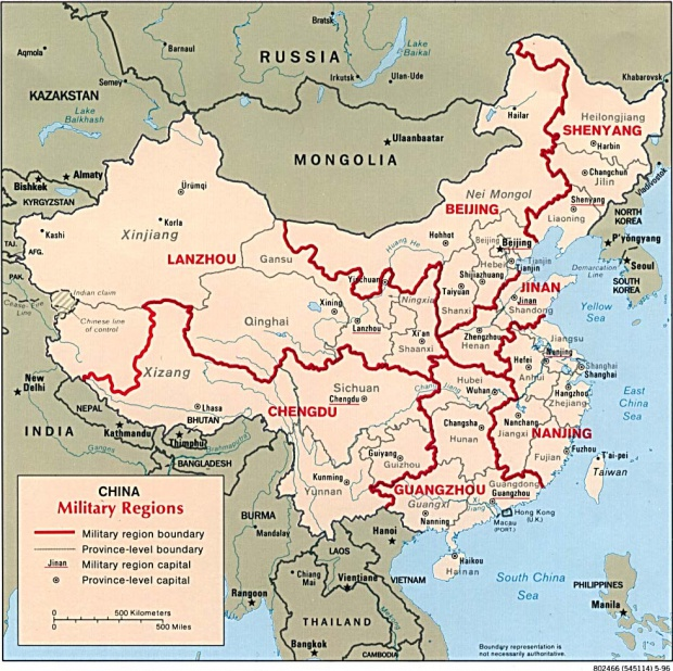 China Major Air Force Units Map