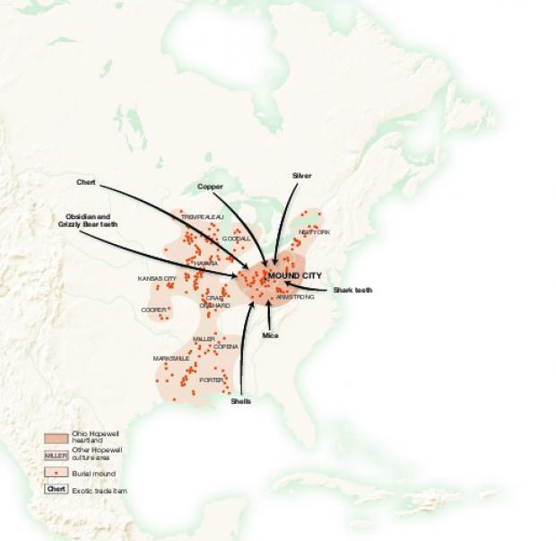 Mapa de las Rutas de Comercio de la Cultura Hopewell 200 BC to 400 A.D