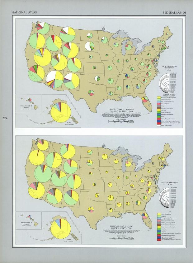 Mapa de las Tierras Federales, Estados Unidos