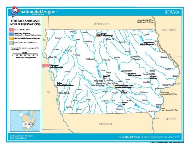 Mapa de las Tierras Federales y de las Reservas Indigenas, Iowa, Estados Unidos