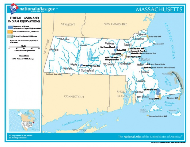 Massachusetts Federal Lands and Indian Reservations Map, Massachusetts, United States