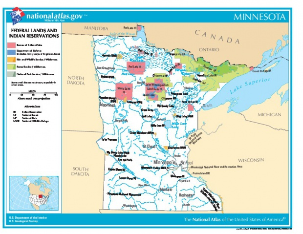 Minnesota Federal Lands and Indian Reservations Map, United States