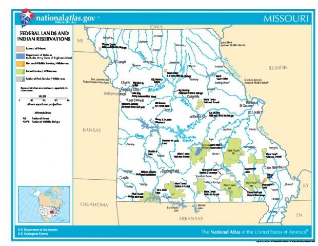 Mapa de las Tierras Federales y de las Reservas Indigenas, Missouri, Estados Unidos