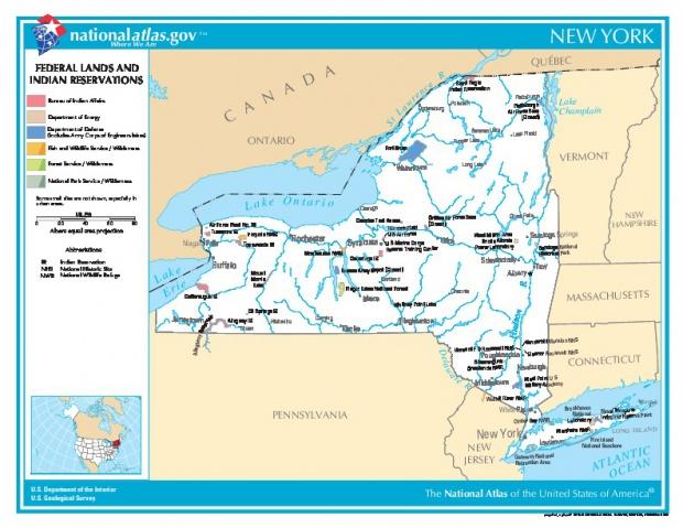 Mapa de las Tierras Federales y de las Reservas Indigenas, Nueva York, Estados Unidos