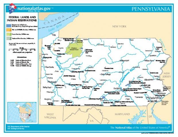 Mapa de las Tierras Federales y de las Reservas Indigenas, Pensilvania, Estados Unidos