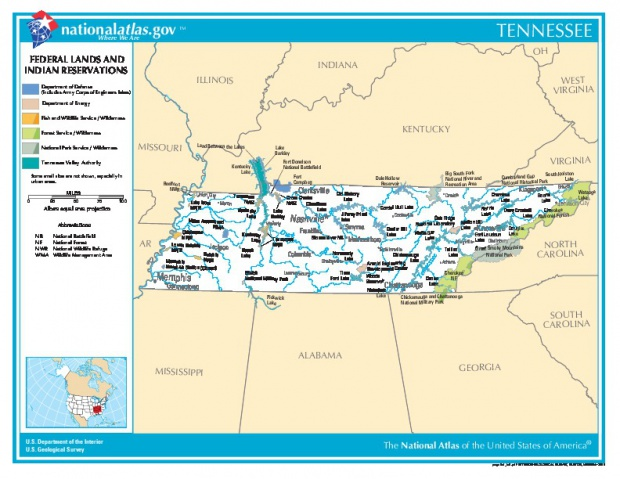 Tennessee Federal Lands and Indian Reservations Map, United States