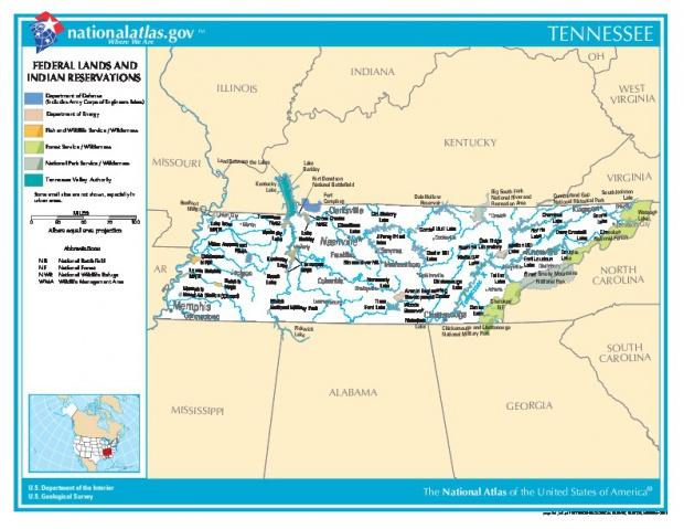 Mapa de las Tierras Federales y de las Reservas Indigenas, Tennessee, Estados Unidos