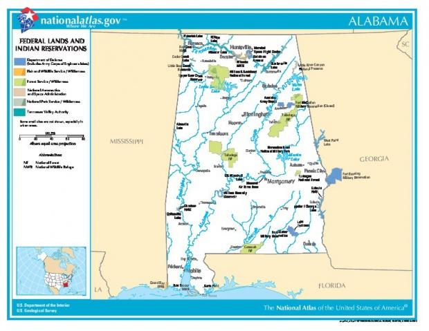 Mapa de las Tierras Federales y de las Reservas Indigenas de Alabama, Estados Unidos