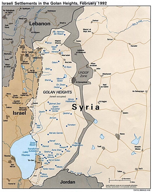 Map of Israeli Settlements in the Golan Heights