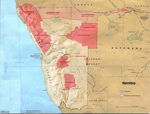 Mapa de los Bantustanes de Namibia 1978