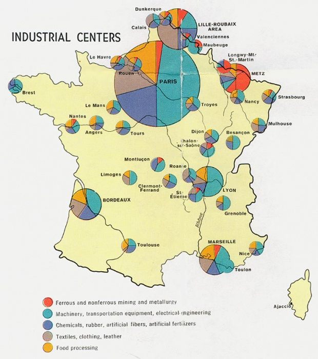 France Industrial Centers Map