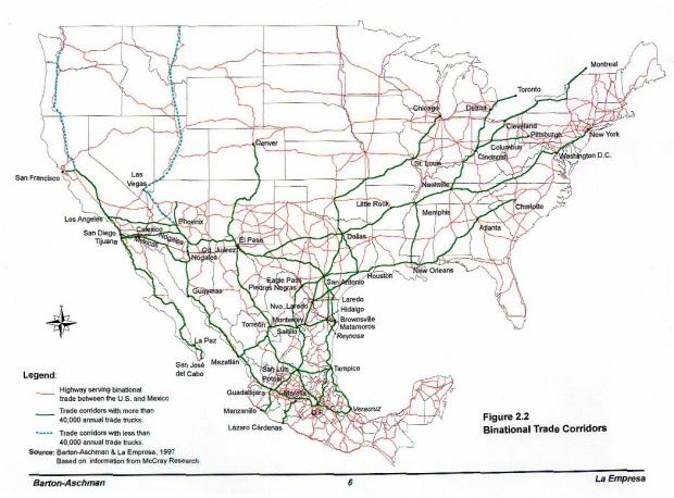 Mapa de los Corredores de Comercio Binacional (México - Estados Unidos)