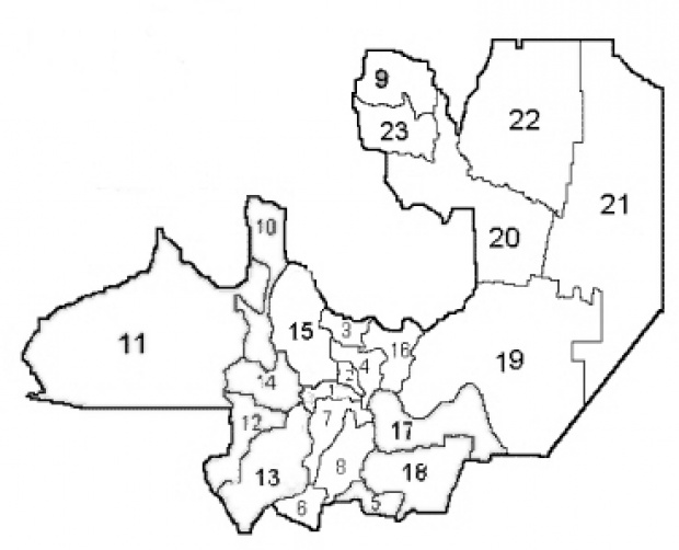 Departments Map, Prov. Salta, Argentina