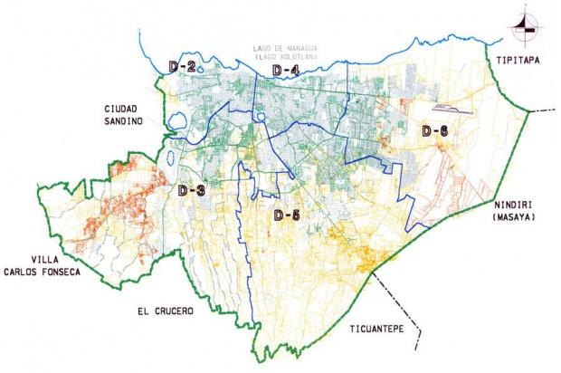 Mapa de los Distritos Urbanos de Managua, Nicaragua