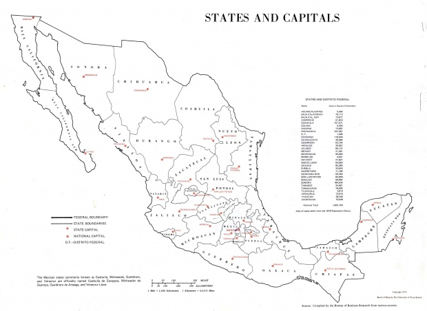 States and Capitals Map, Mexico