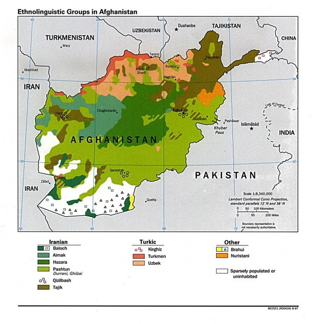 Afghanistan Ethnolinguistic Groups Map