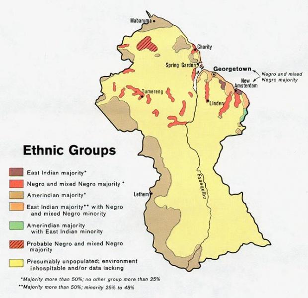 Guyana Ethnic Groups Map
