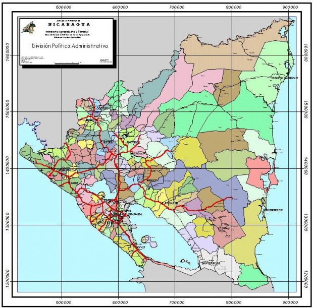 Mapa de los Municipios de Nicaragua