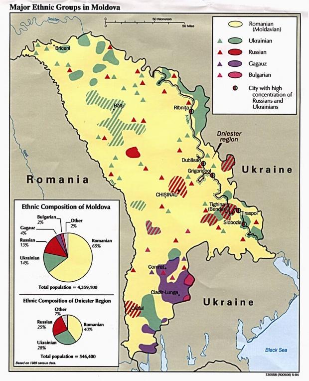 Mapa de los Principales Grupos Étnicos de Moldavia