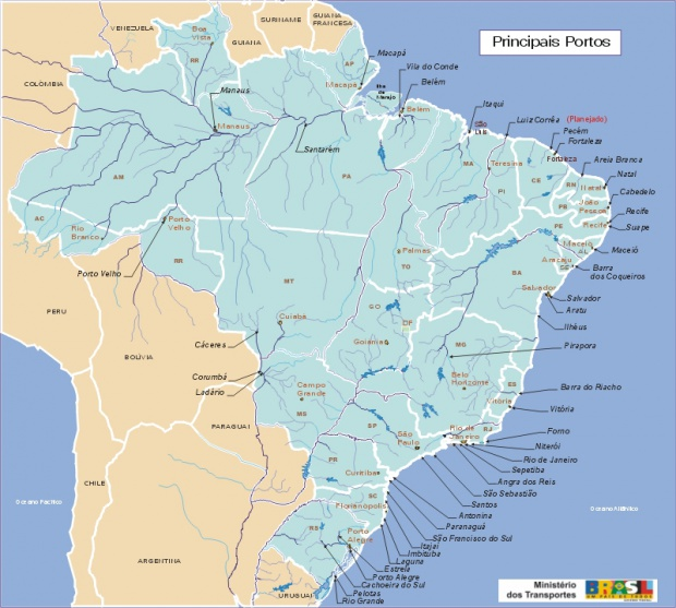 Brazil Main Ports & Harbour Map