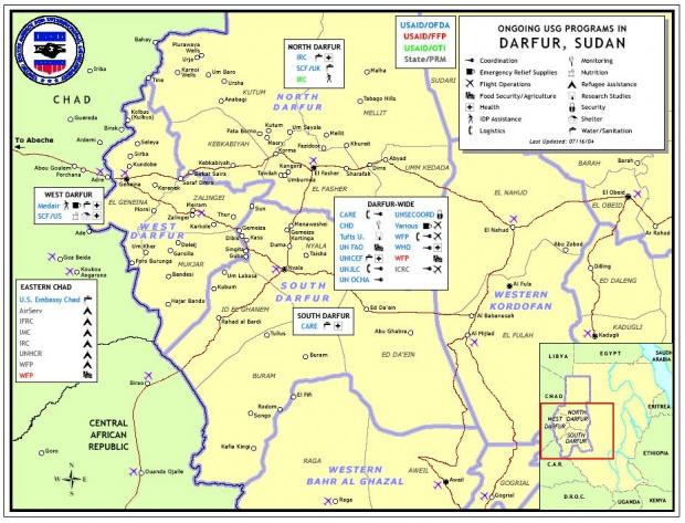 Mapa de los Programas USG en Darfur, Sudán, Julio 16, 2004