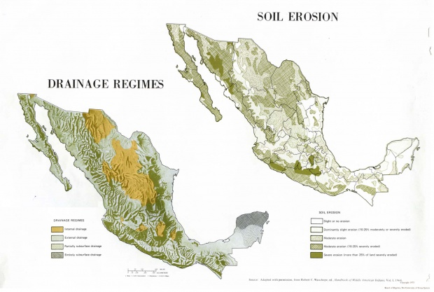 Drainage Regimes and Soil Erosion Map, Mexico