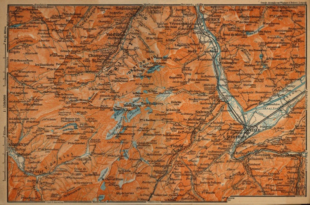 Valleys of the Trient Map, Switzerland 1914