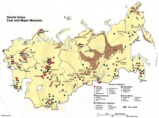 Mapa de los Yacimientos de Carbón y de los Principales Minerales de la ex Unión Soviética