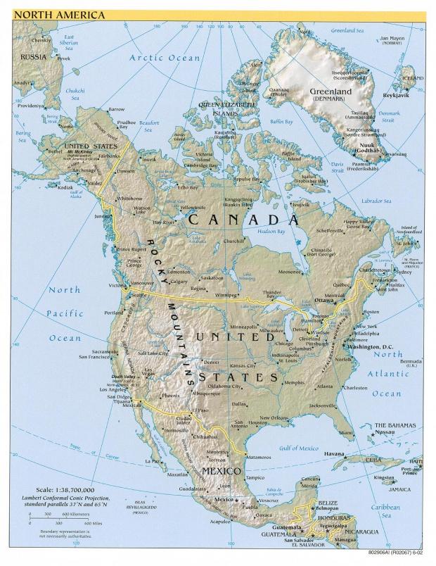 Mapa de relieve de América del Norte 2002
