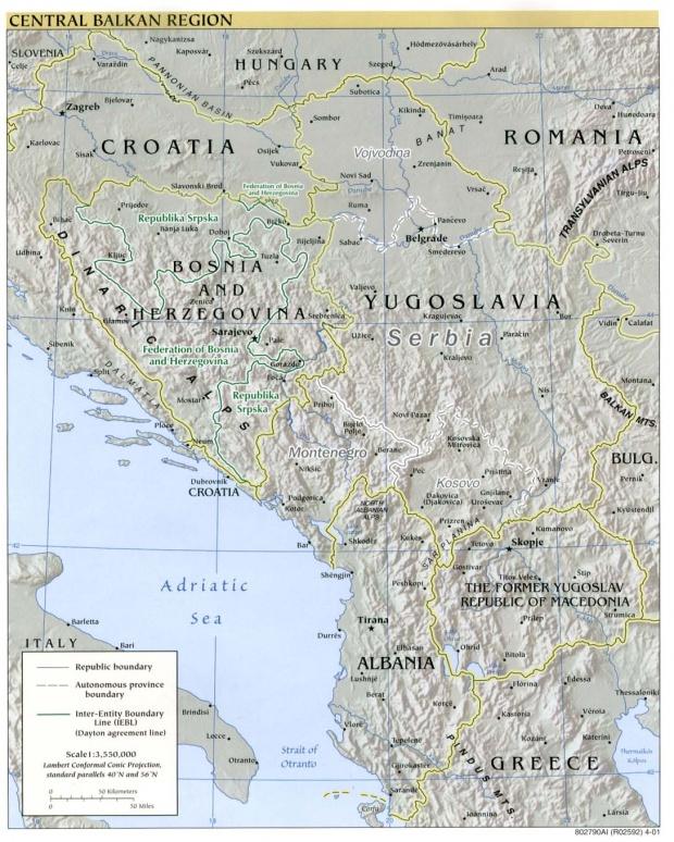 Mapa de relieve de los Balcanes Occidental 2001