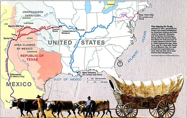 Santa Fe Trail Map, Western United States
