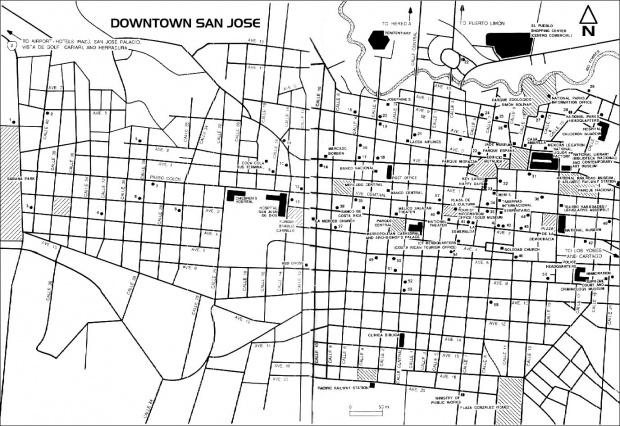 Mapa del Centro de San Jose, Costa Rica
