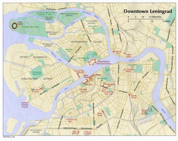 Mapa del Centro de San Petersburgo, Rusia