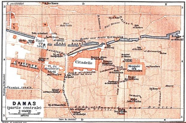 Mapa del Centro de la Ciudad de Damasco (Damas) Central, Syria 1912
