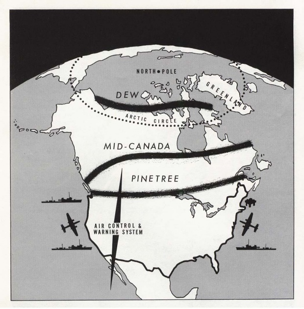 North America - Air Control and Warning System Map (DEW, Mid-Canada, and Pinetree Lines)