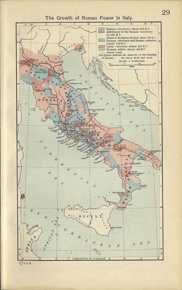 Mapa del Crecimiento del Poder Románo en Italia