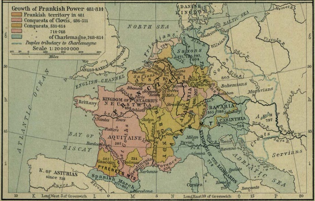 Growth Map of Frankish Power, Europe 481 - 814