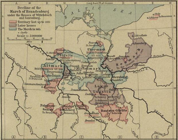 Mapa del Declive del Margraviato de Brandenburgo Bajo las Casas de Wittelsbach y Luxemburgo, 1320-1415