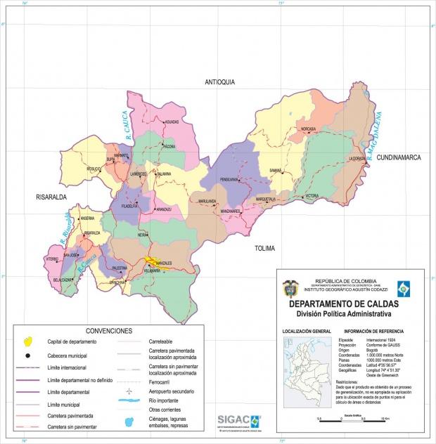 Mapa del Departamento de Caldas, Colombia