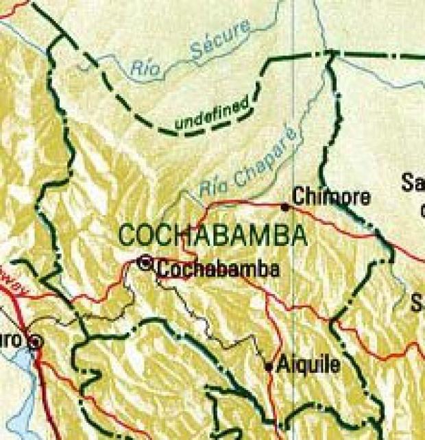Mapa del Departamento de Cochabamba, Bolivia