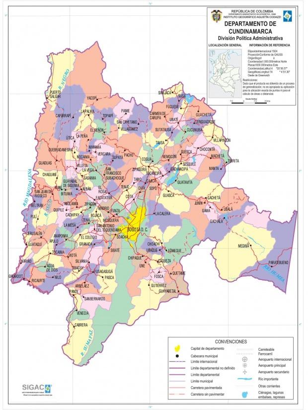 Mapa del Departamento de Cundinamarca, Colombia