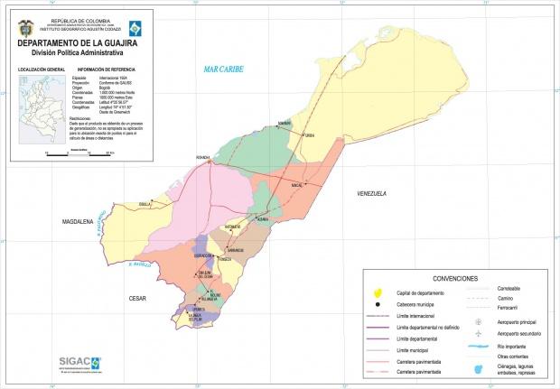 Mapa del Departamento de La Guajira, Colombia